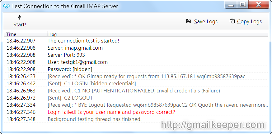 gmail imap backup tool connection testing